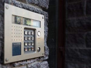 Close-up of building intercom